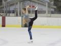 Morgan practicing Biellmann